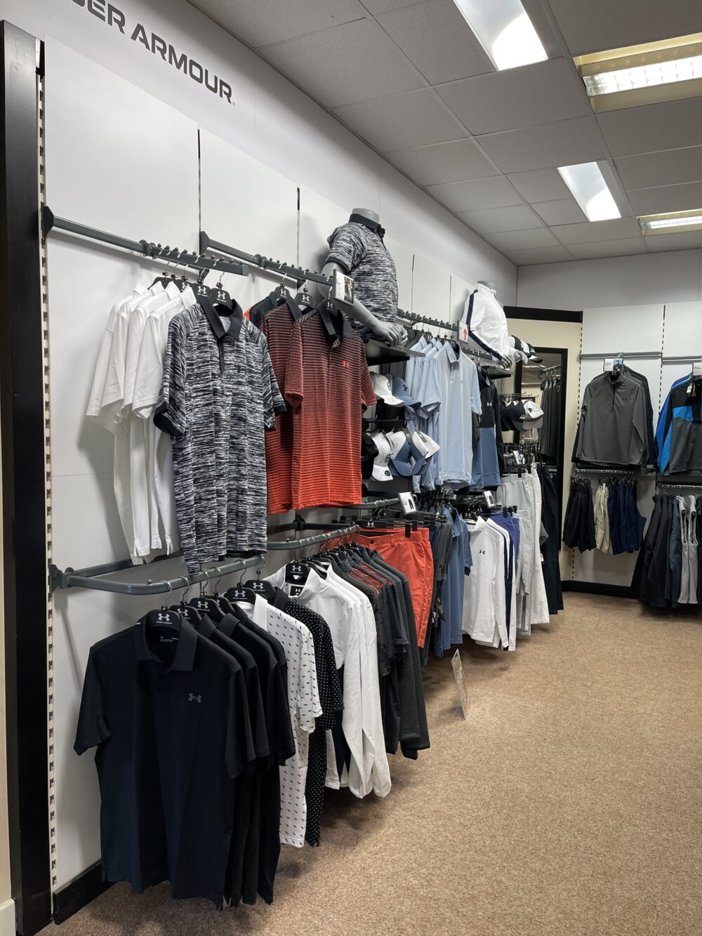 Under Armour golf clothing apparel at peter field golf shop norwich norfolk
