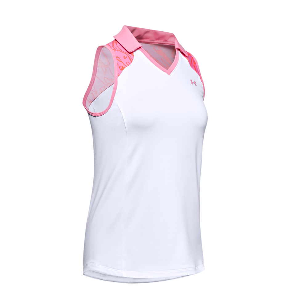 Under Armour Zinger Sleeveless Blocked Polo White/Pink