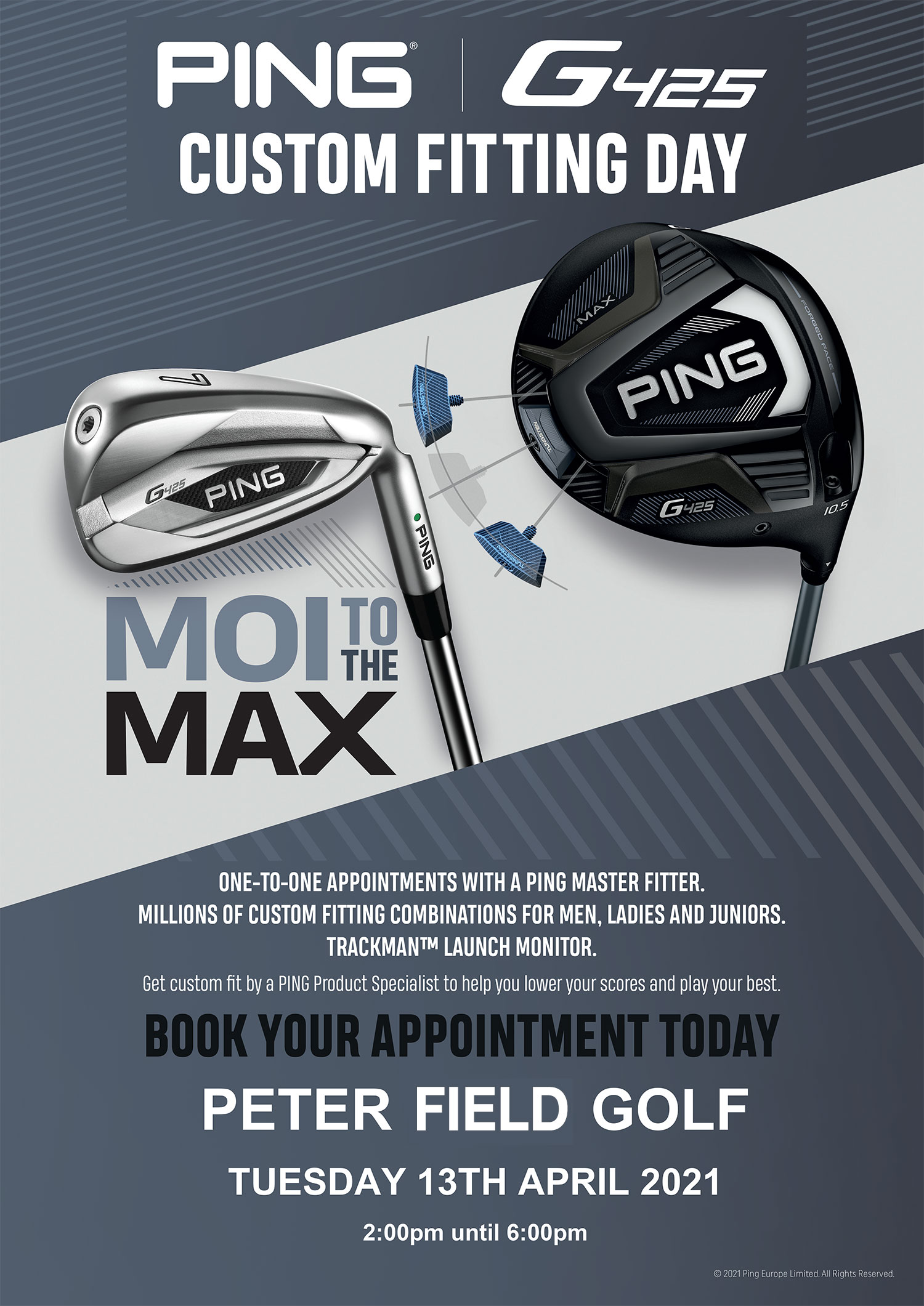 PING G425 fitting day peter field golf shop norwich norfolk