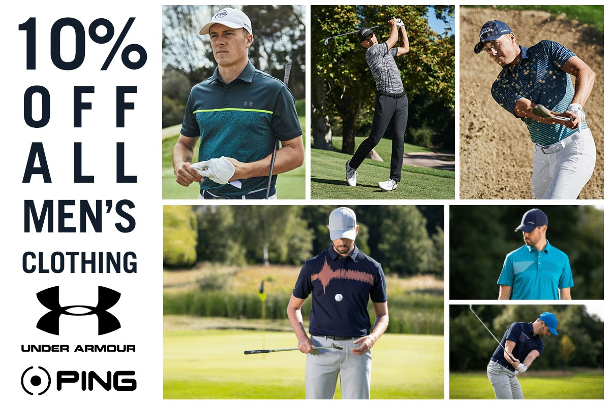 10% off all mens golf clothing | Peter Field Golf, Norwich
