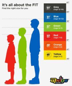 Mkids junior size chart | Peter Field Golf Shop, Norwich